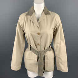 ARMANI COLLEZIONI Size 4 Beige Cotton Blend Belted Coat