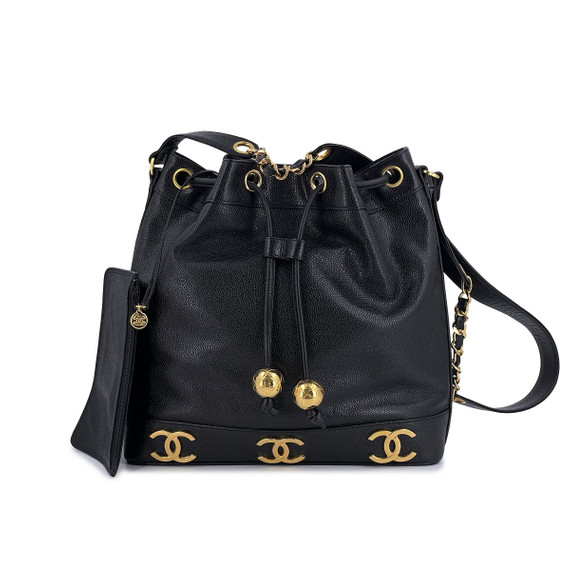(LIKE NEW) Chanel Vintage Black Caviar Bucket Drawstring Bag 24k GHW