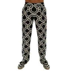 Dolce & Gabbana Black White Pattern 100% Linen Men's Pants