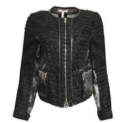 ERDEM Black and Grey Textured Metallic Leather Trim Jacket