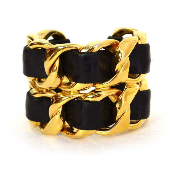 chanel Vintage '86 Black Leather Woven Gold Chain Link Cuff