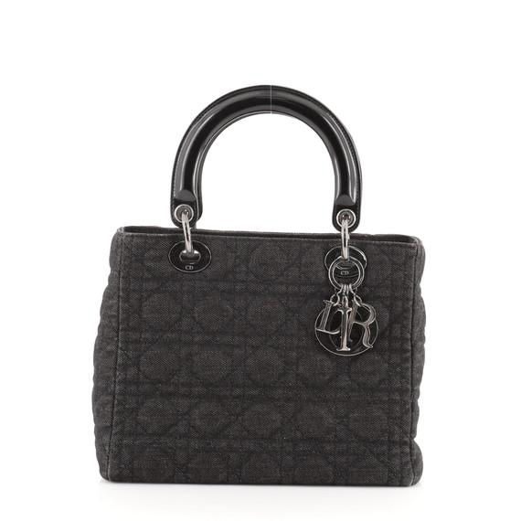 Vintage Lady Dior Bag Cannage Quilt Denim Medium
