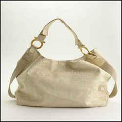 Rdc11281 Authentic Salvatore Ferragamo Ivory Gancini Canvas Shoulder Bag