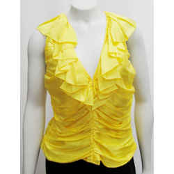 New Ralph Lauren Purple Label 10 Yellow Ruched Top Blouse Sleeveless Silk $898
