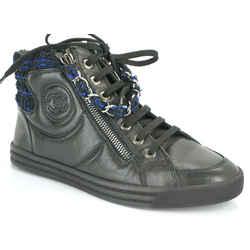 Nib Chanel Xl Cc Logo High Top Sneakers Sz 35 Chain Zip Tweed $1025 Nib