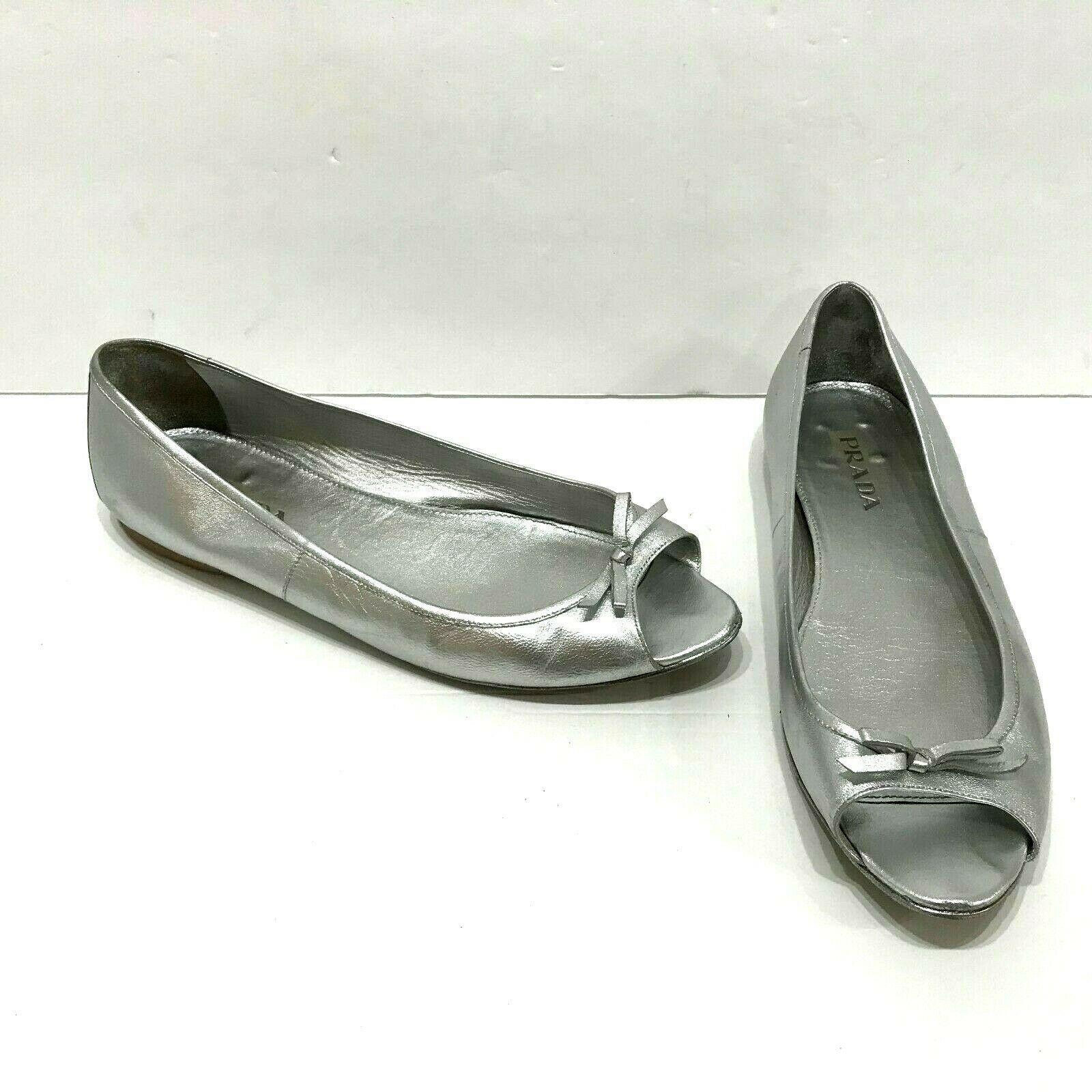 Prada Metallic Silver Peep Toe Ballet