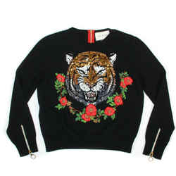 Gucci - New - Cashmere Tiger Sweater - Sequin Floral Zip - Womens US Small S