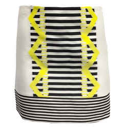 Versace Black Ivory and Yellow Blurred Woven Geo Skirt