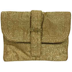 "Fendi Clutch Vintage Lurex Gold Fabric Cross Body Bag 8.5""L x 11""W x 2""H Item #: 25295844"