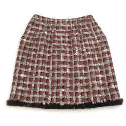 Chanel Oxblood / Grey Tweed With Rabbit Trim Skirt