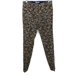 Prada Metallic Gold Navy Jacquard Weave Pants sz 2