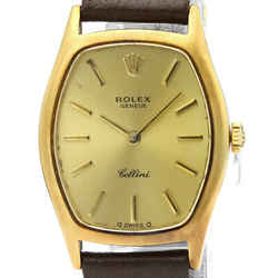 Vintage ROLEX Cellini 18K Gold Leather Hand-Winding Ladies Watch 3803 BF517548