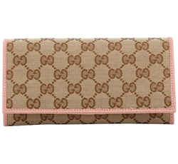 New Gucci Pink Ebony Canvas Leather Gg Guccissima Continental Bifold Wallet