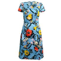 Reem Acra Blue Multi Floral Garden Cocktail Dress