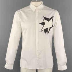 Neil Barrett Size L White Solid Cotton Hidden Buttons Long Sleeve Shirt