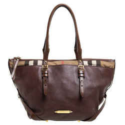 Burberry Brown Leather and House Check Canvas Zip Tote