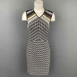 MISSONI Size 4 Black & White Zig Zag Knit Sleeveless Dress