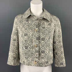 THEORY Size L Grey Tapestry Cotton / Polyester Buttoned Jacket