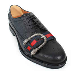 Gucci - New Dionysus - Black Leather Loafers Red Blue Stripe Mens IT 8.5 US 9.5