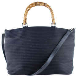 Gucci Quilted Black Bamboo Tote with strap 5g615
