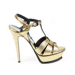 Saint Laurent Heels Tribute Gold Leather Platform