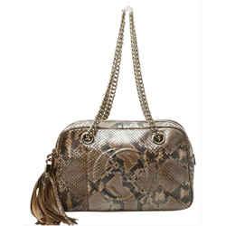 Gucci Python Fringe Tassle Soho Camera Boston Chain Bag 860875