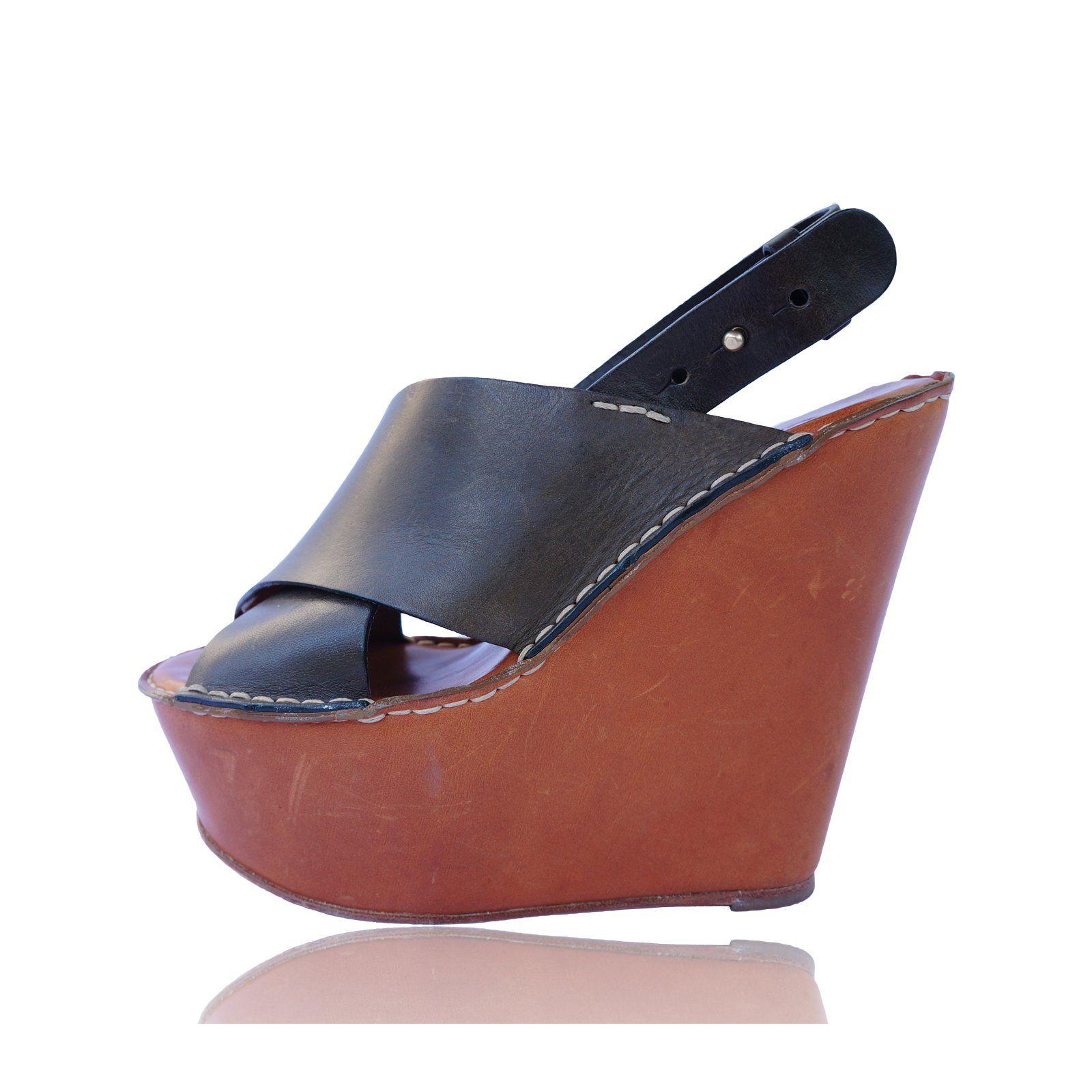 ChloE leather Platform Wedge Sandals