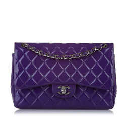 Purple Chanel Jumbo Classic Caviar Leather Double Flap Bag