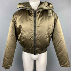 Calvin Klein Collection Size 38 Olive Hooded Nylon Blend Detachable Layer Jacket
