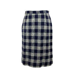 Valentino Miss V Vintage Blue Checkered Pencil Skirt Size 44 IT