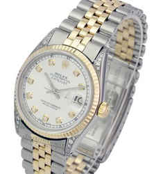 Rolex Mens Datejust Diamond Dial Diamond Lugs Fluted Bezel 36mm Watch