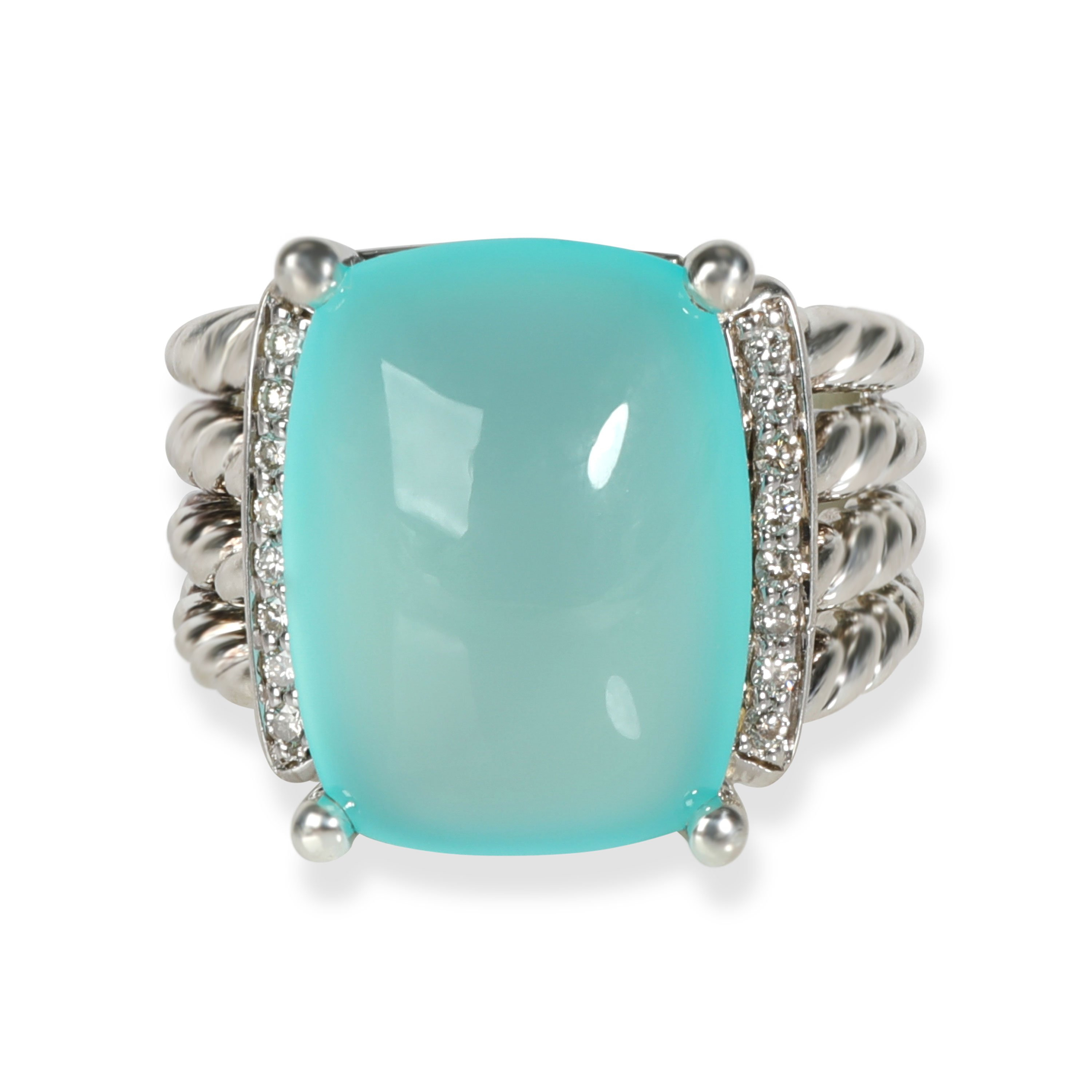 Vintage Kim statement ring in the original bag Silver with a blue Cabochon.