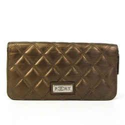 Chanel Paris New York Women's Leather Long Wallet (bi-fold) Bronze BF527216