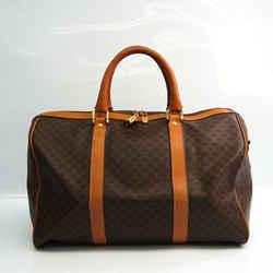 Celine Macadam Unisex PVC,Leather Boston Bag Brown,Dark Brown BF535788