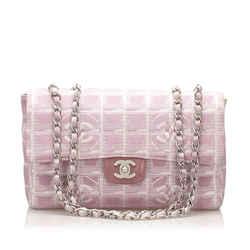 Vintage Authentic Chanel New Travel Line Classic Flap Nylon Shoulder Bag