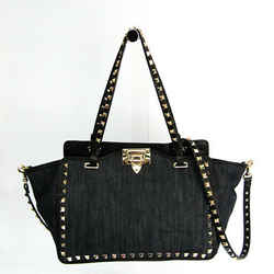 Valentino Garavani Rock Studs KW2B0037DEA Women's Leather,Denim Handbag BF519745