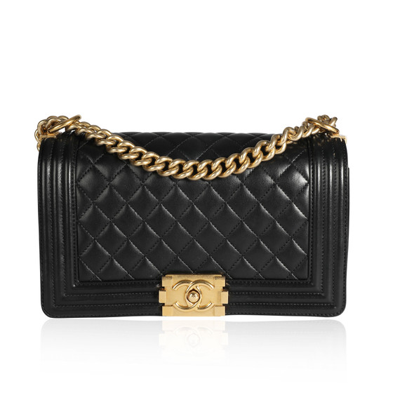 Chanel Black Lambskin Quilted Medium Boy Bag