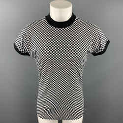Vintage GIANNI VERSACE Size L Black & White Checkered Cotton / Elastane T-shirt