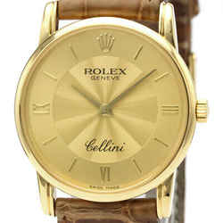 ROLEX Cellini K Serial 18K Gold Leather Hand-Winding Mens Watch 5116 BF520292