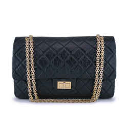 Chanel Black Aged Calfskin Reissue Large 227 2.55 Classic Flap Bag Ghw