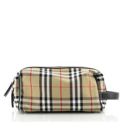 Cosmetic Pouch Vintage Check Canvas