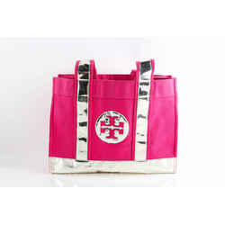 Tory Burch Pink And Silver Metallic Canvas Tote