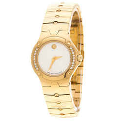 Movado White Mother of Pearl Yellow Gold Plated Steel Diamonds Sports Edition...