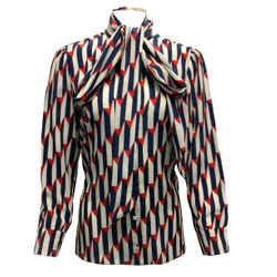 Gucci Geometric Print Silk Button Down Shirt