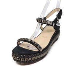 Christian Louboutin Black Suede Gunmetal Studded Sandals Sz 38