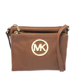 Michael Kors Brown Leather Fulton Crossbody Bag