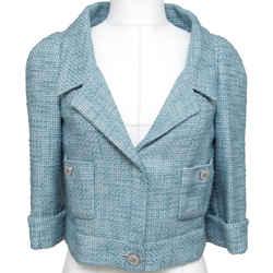 Chanel Tweed Jacket Blazer Blue Cropped Crystal Sz 38 Cruise 2013