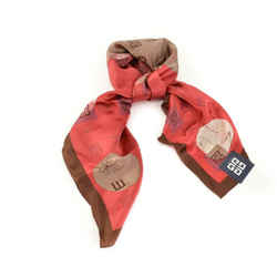 "Givenchy: Red/brown, ""4g"" Logo 100% Silk, Scarf/foulard 31"" X 31"" (nt)"