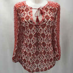 Joie Red Floral Blouse Large