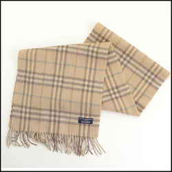 Rdc11266 Authentic Burberry Beige Nova Check Cashmere Scarf